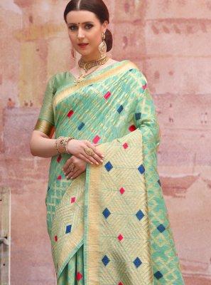 Aqua Blue Color Traditional Designer Saree