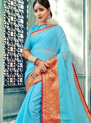 Aqua Blue Cotton Mehndi Designer Traditional Saree