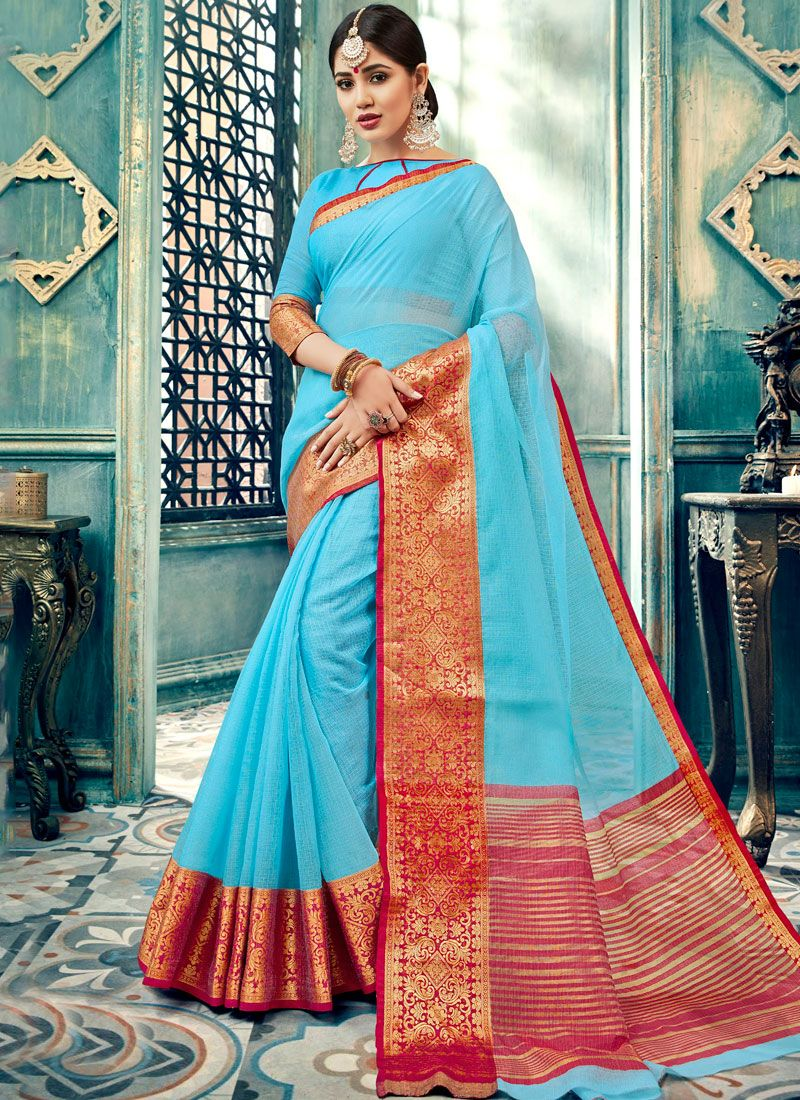 Aqua Blue Cotton Mehndi Designer Traditional Saree