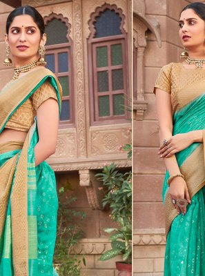 Aqua Blue Cotton Silk Festival Designer Traditional Saree