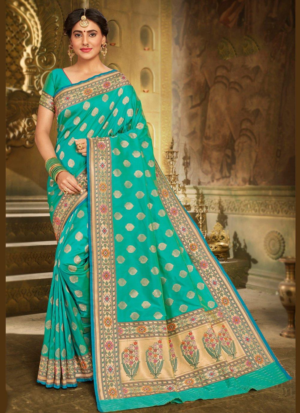 Aqua Blue Embroidered Classic Saree