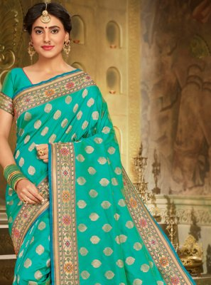 Aqua Blue Embroidered Classic Saree