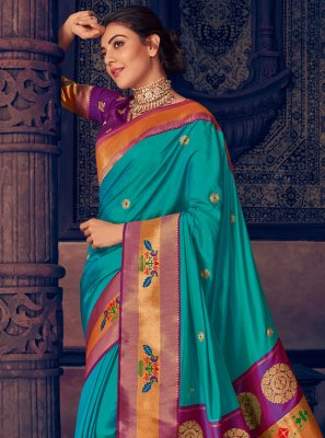 Aqua Blue Embroidered Contemporary Style Saree