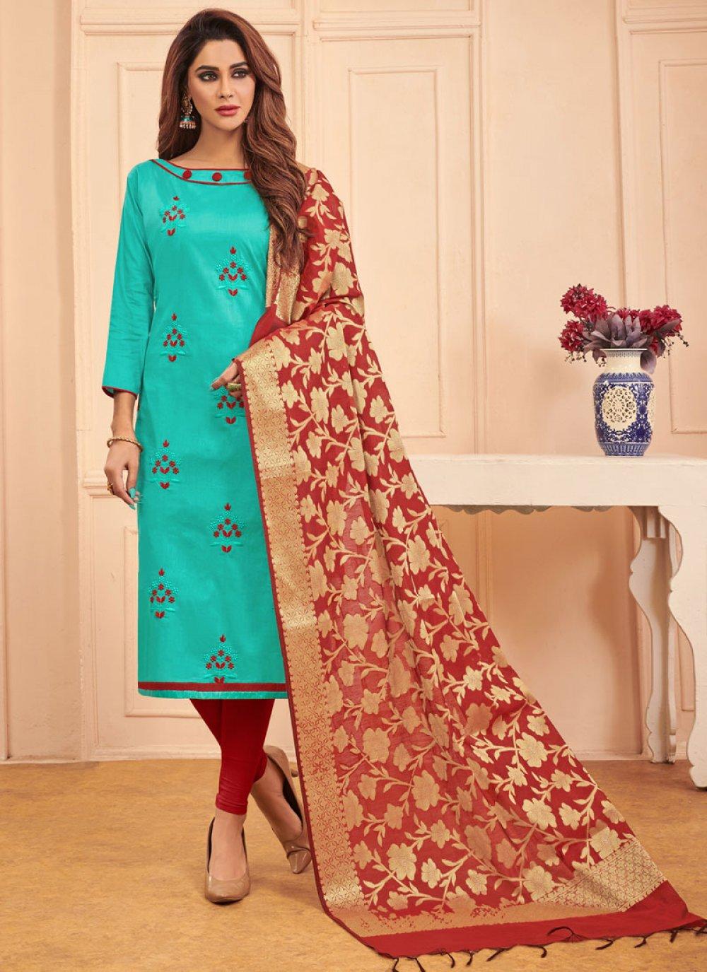 Aqua Blue Embroidered Cotton Churidar Salwar Kameez