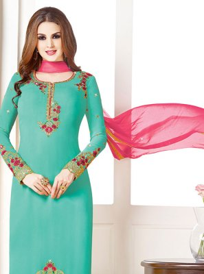 Aqua Blue Embroidered Designer Salwar Kameez