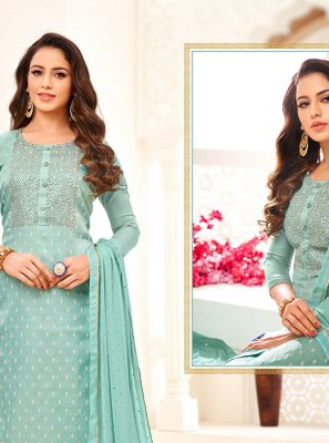 Aqua Blue Embroidered Linen Churidar Salwar Kameez