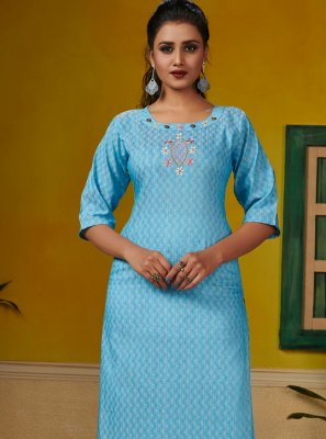Aqua Blue Embroidered Party Wear Kurti