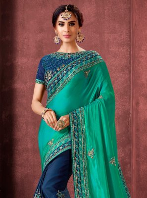 Aqua Blue Embroidered Silk Classic Saree