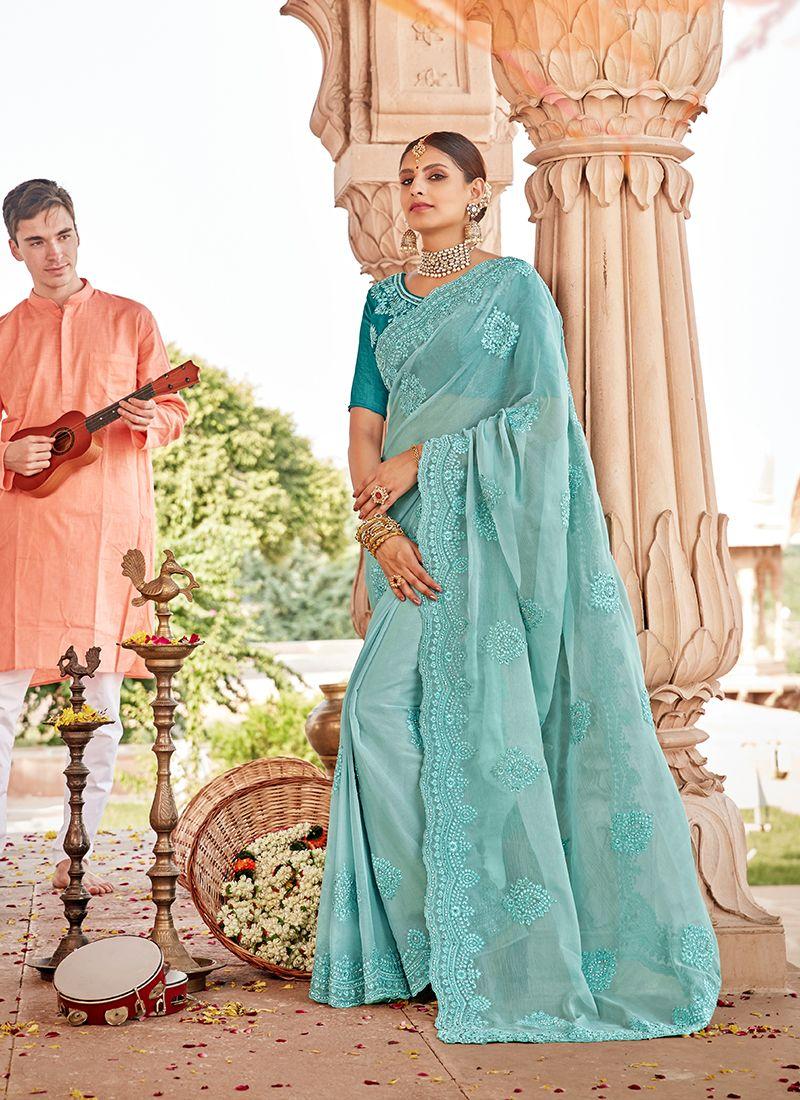 Aqua Blue Embroidered Traditional Saree