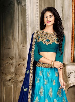 Aqua Blue Embroidered Trendy A Line Lehenga Choli