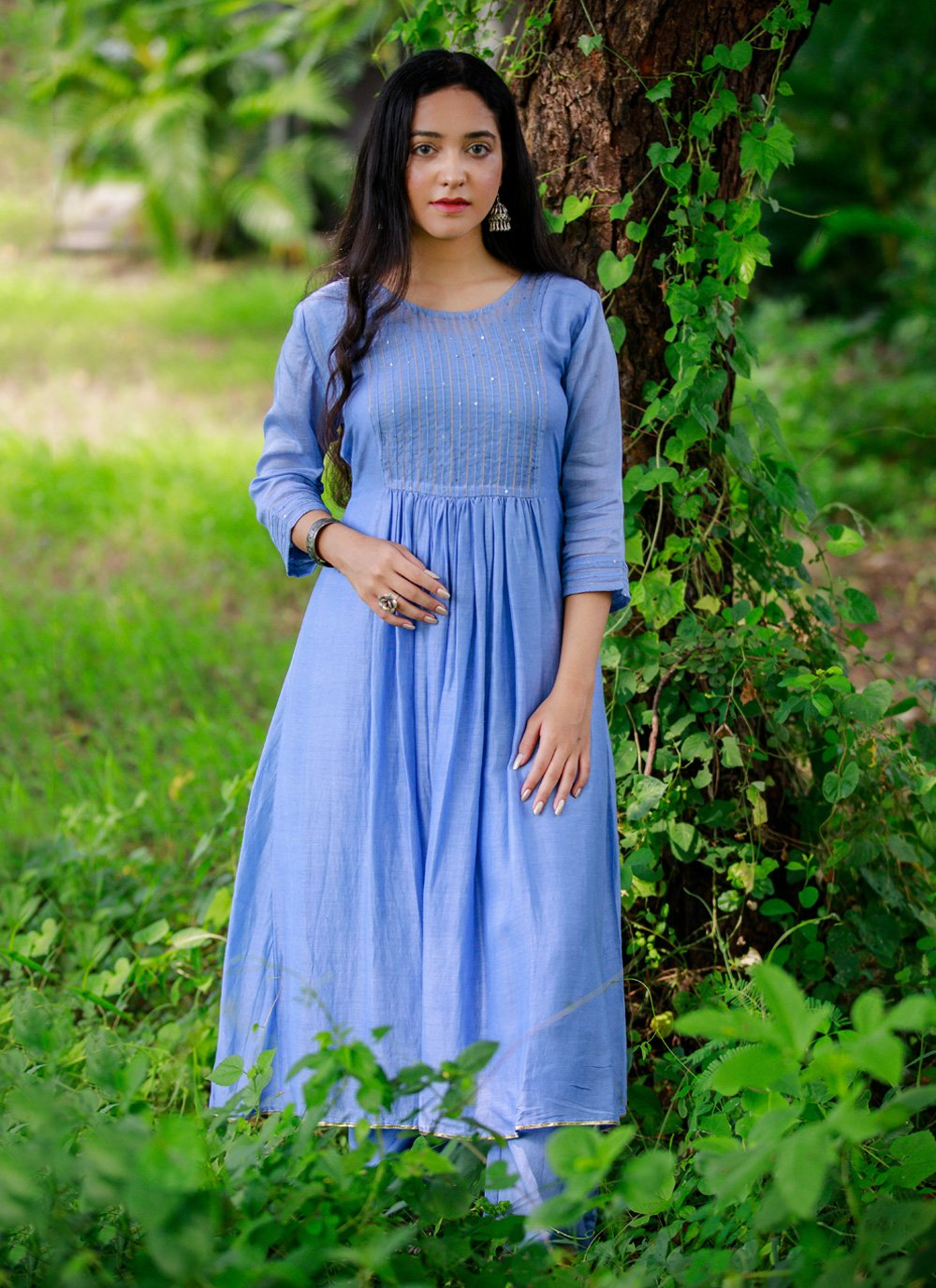 3 Pieces Cornflower Blue Plazzo and Dress
