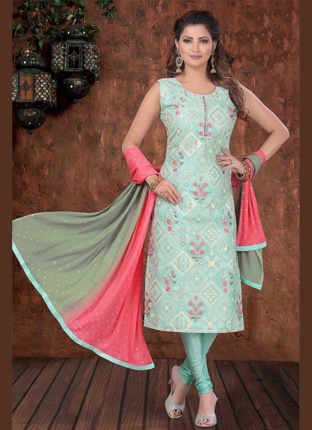 Aqua Blue Festival Art Silk Trendy Churidar Suit