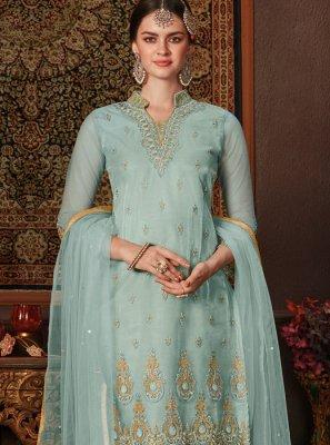 Aqua Blue Festival Net Designer Pakistani Salwar Suit