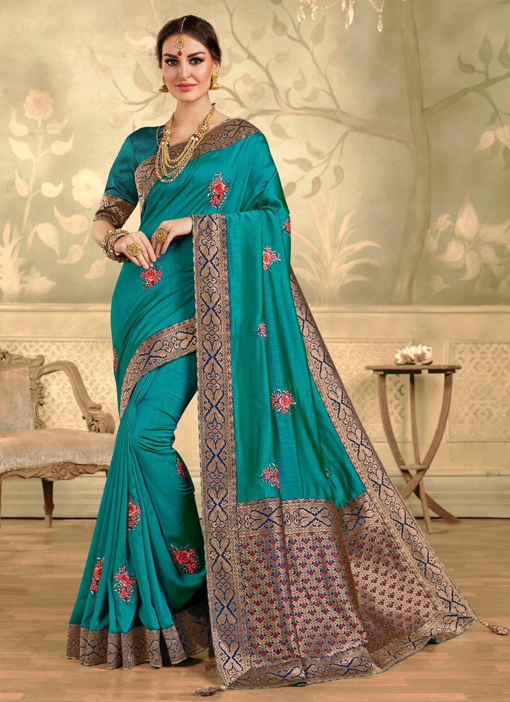 Aqua Blue Festival Silk Trendy Saree
