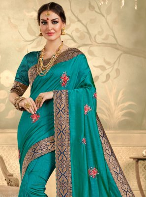 Aqua Blue Festival Silk Trendy Saree