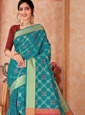 Aqua Blue Festival Trendy Saree