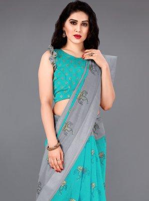 Aqua Blue Foil Print Cotton Classic Saree