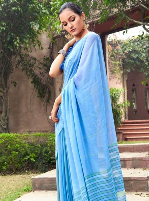 Aqua Blue Georgette Casual Saree