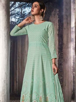 Aqua Blue Georgette Embroidered Salwar Suit
