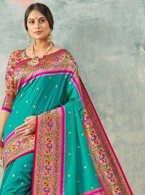 Aqua Blue Handloom silk Weaving Classic Saree