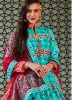 Aqua Blue Handwork Silk Readymade Anarkali Suit