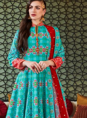 Aqua Blue Handwork Silk Readymade Anarkali Suit