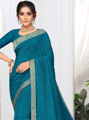 Aqua Blue Lace Casual Saree