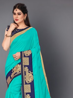 Aqua Blue Lace Trendy Saree