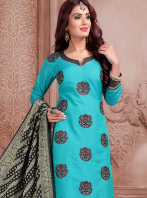 Aqua Blue Mehndi Churidar Suit