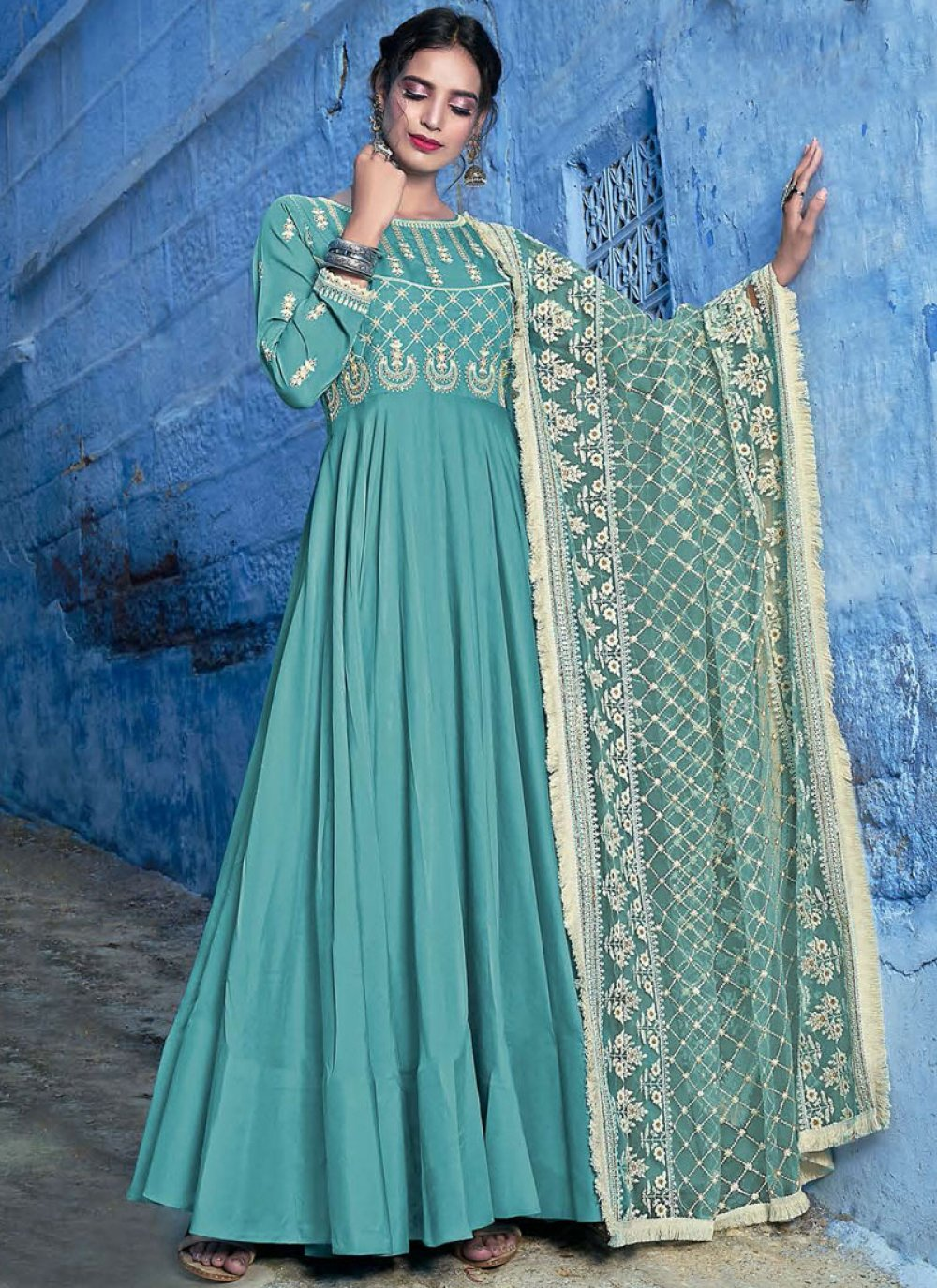 Aqua Blue Muslin Anarkali Suit