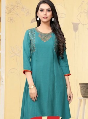 Aqua Blue Party Casual Kurti