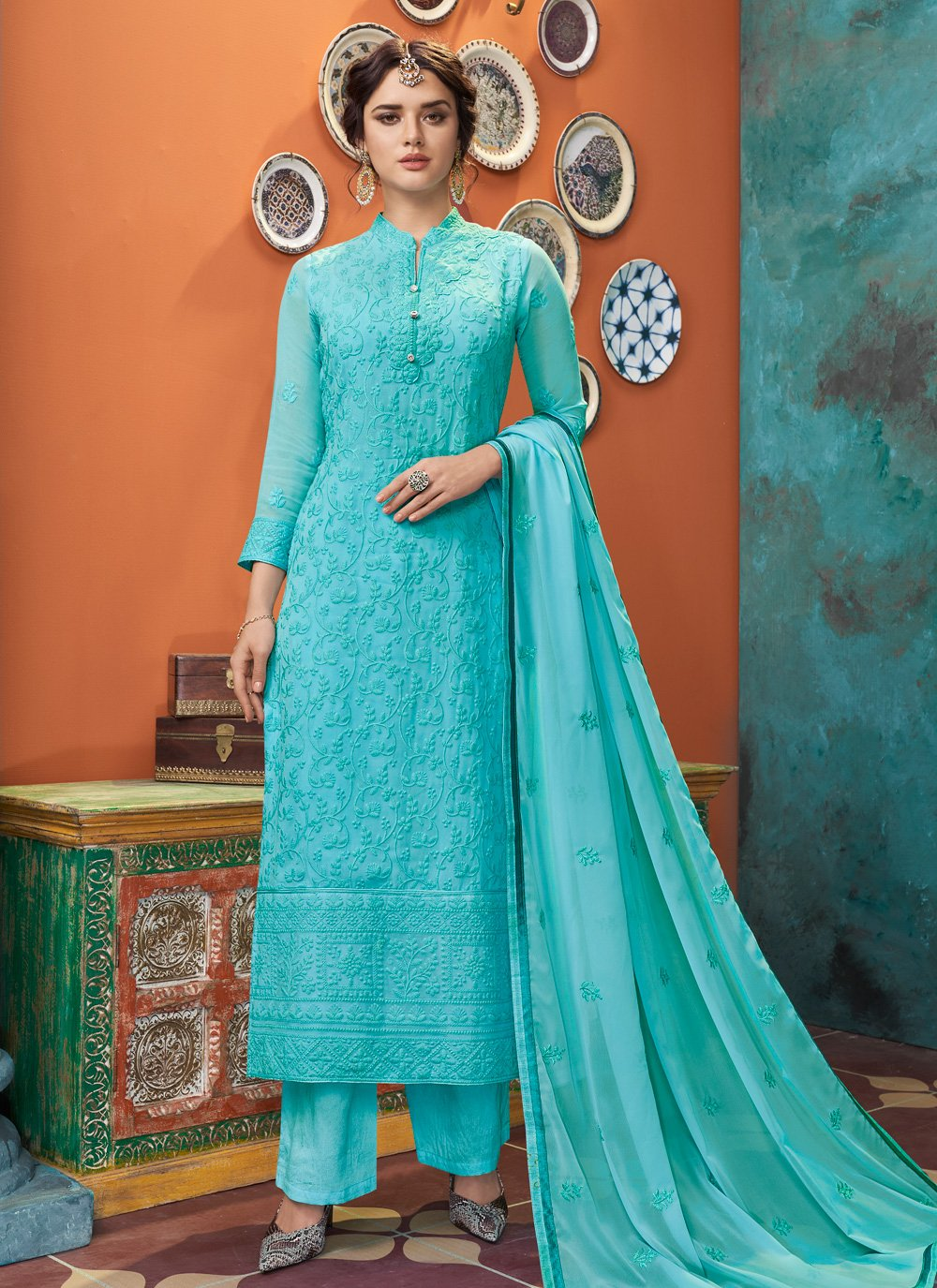 Aqua Blue Party Designer Straight Suit