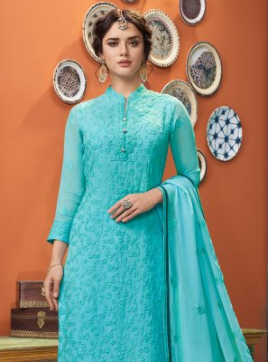 Aqua Blue Party Designer Straight Suit
