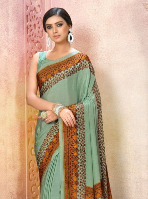 Aqua Blue Party Printed Saree