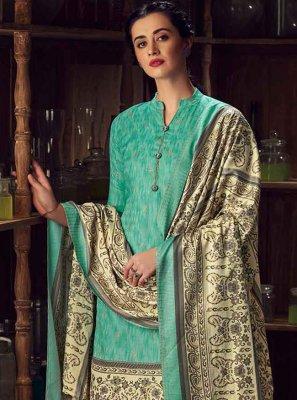 Aqua Blue Pashmina Casual Pakistani Salwar Kameez