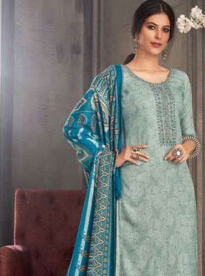 Aqua Blue Pashmina Embroidered Palazzo Suit