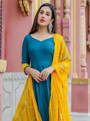Aqua Blue Plain Anarkali Suit