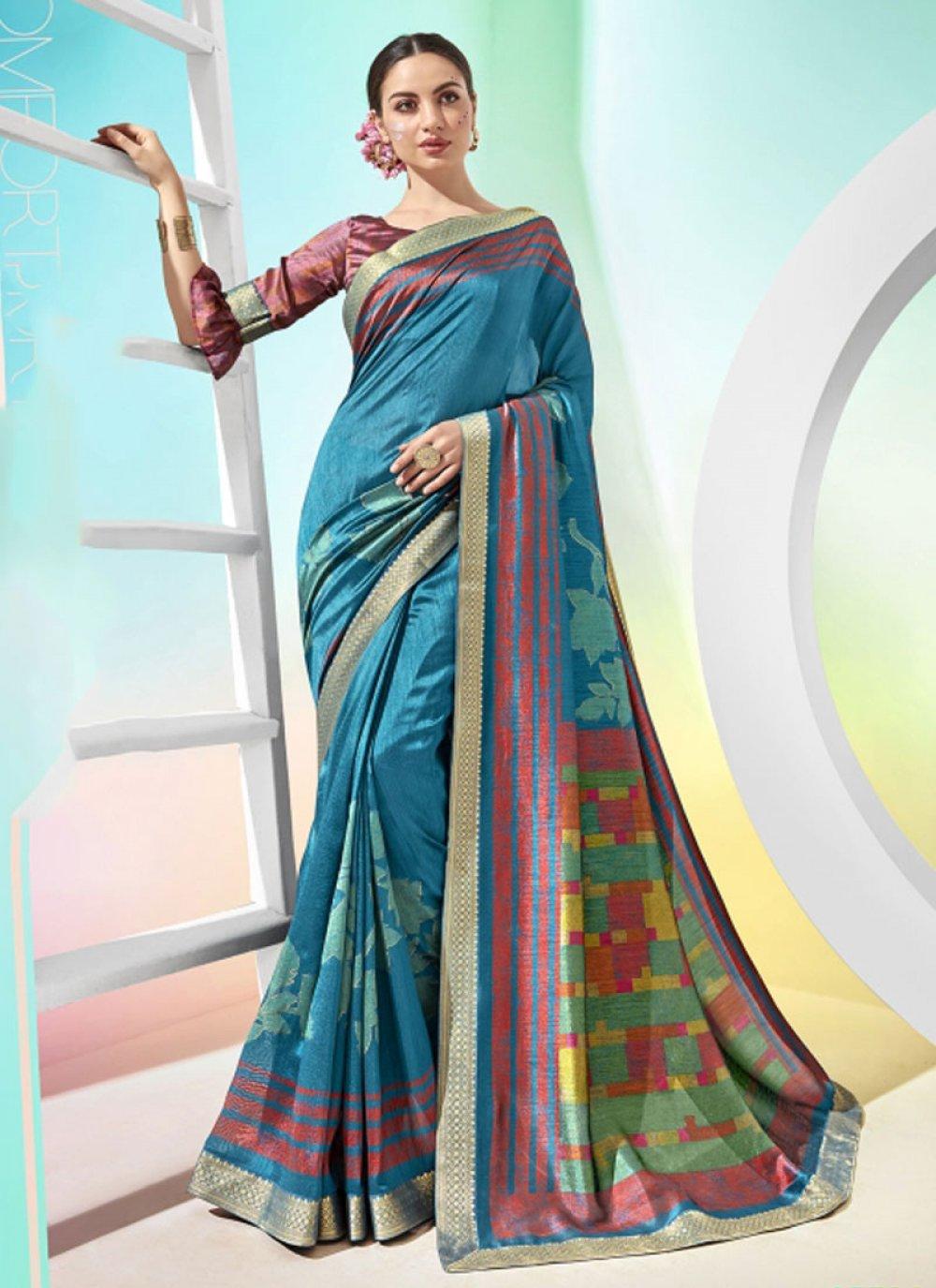 Aqua Blue Printed Silk Silk Saree