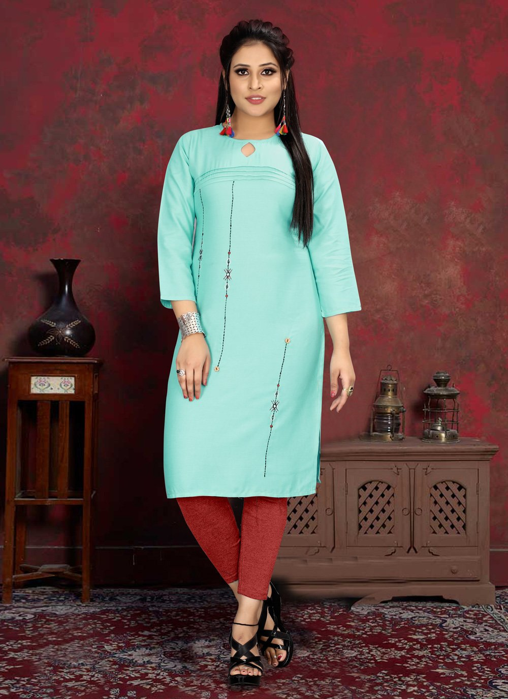 Aqua Blue Rayon Designer Kurti
