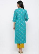 Aqua Blue Rayon Print Salwar Suit