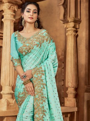 Aqua Blue Reception Classic Saree