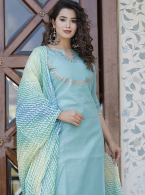 Aqua Blue Reception Cotton Party Wear Kurti