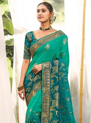 Aqua Blue Resham Bollywood Saree