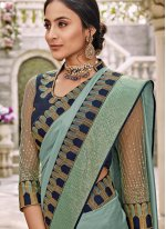 Aqua Blue Resham Trendy Saree