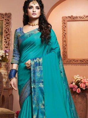 Aqua Blue Satin Silk Festival Classic Designer Saree
