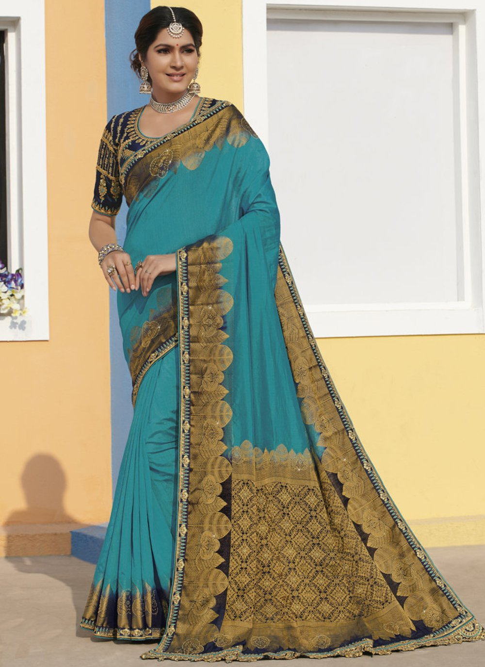 Aqua Blue Silk Bollywood Saree