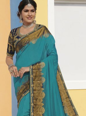 Aqua Blue Silk Bollywood Saree
