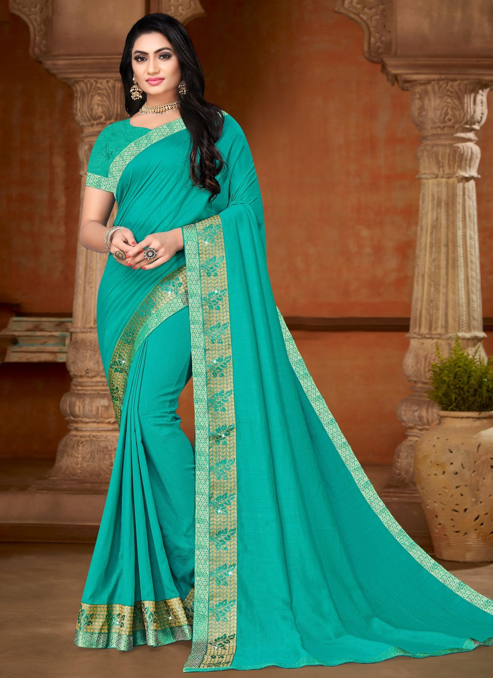Aqua Blue Silk Casual Bollywood Saree