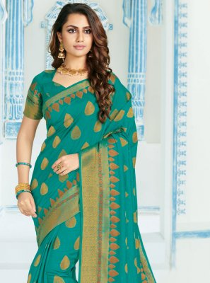 Aqua Blue Silk Casual Saree