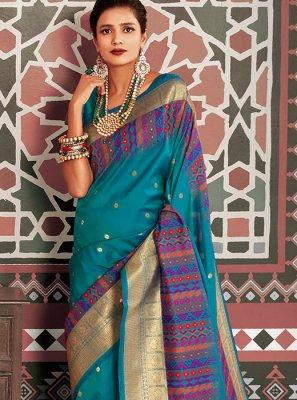 Aqua Blue Silk Classic Saree